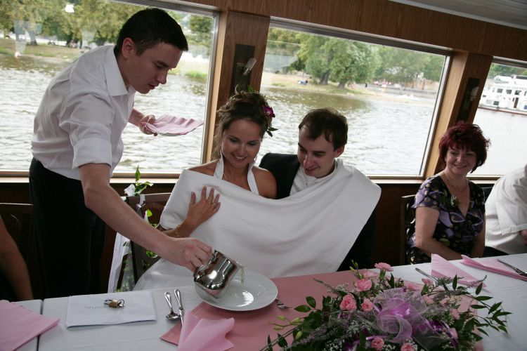 Wedding meal on boat